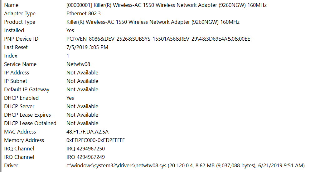 [Solved] Unable to connect to either wireless or ethernet, Dell G7 15